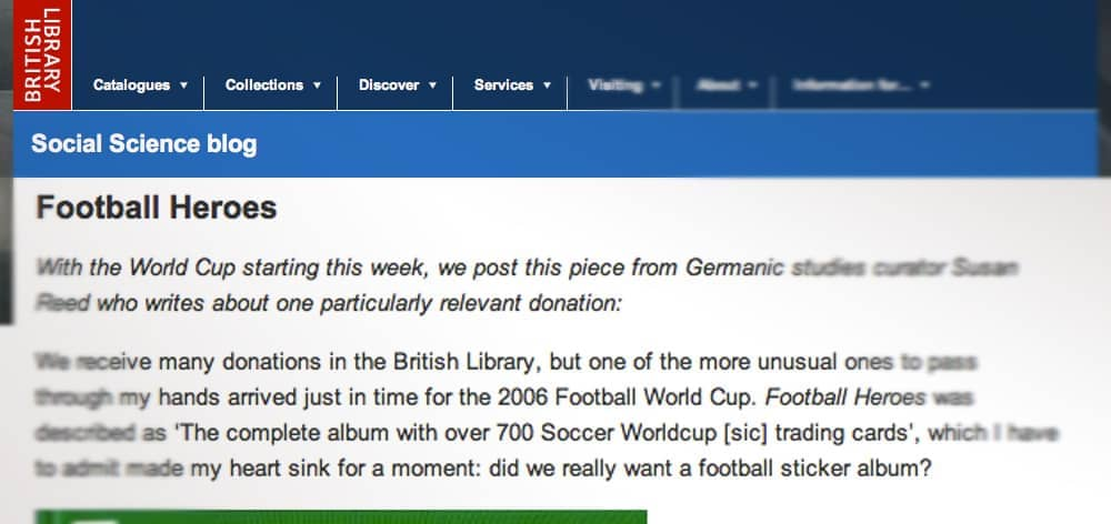 """The British Library: """"…did we really want a football sticker album?"""""""