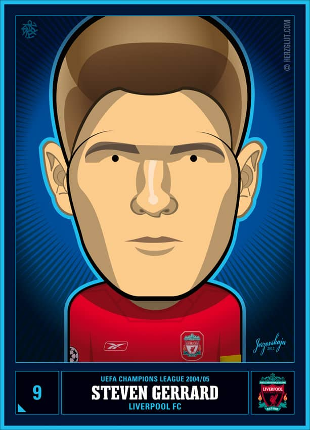Champions League Classics - Star Players - Steven Gerrard - 2008/09 (Vector illustration drawn with Adobe Illustrator)