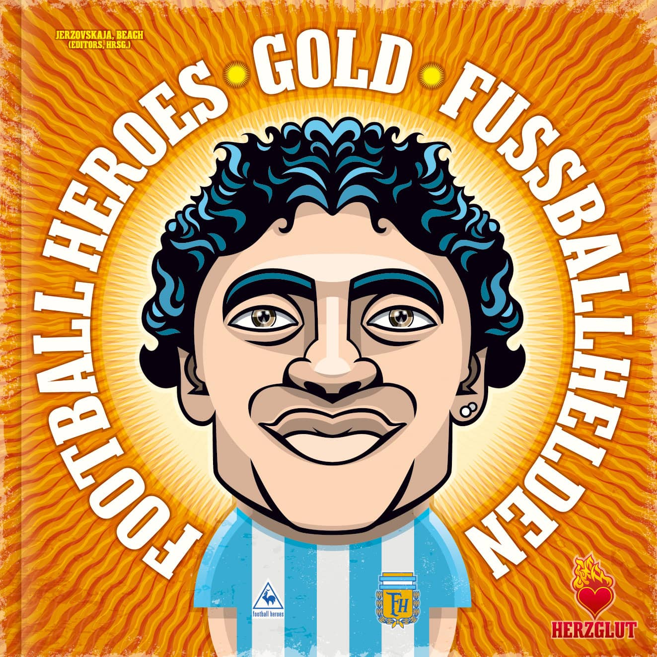 Football Heroes Gold Book Cover by Jerzovskaja - Maradona Illustration - Vector illustration drawn with Adobe Illustrator
