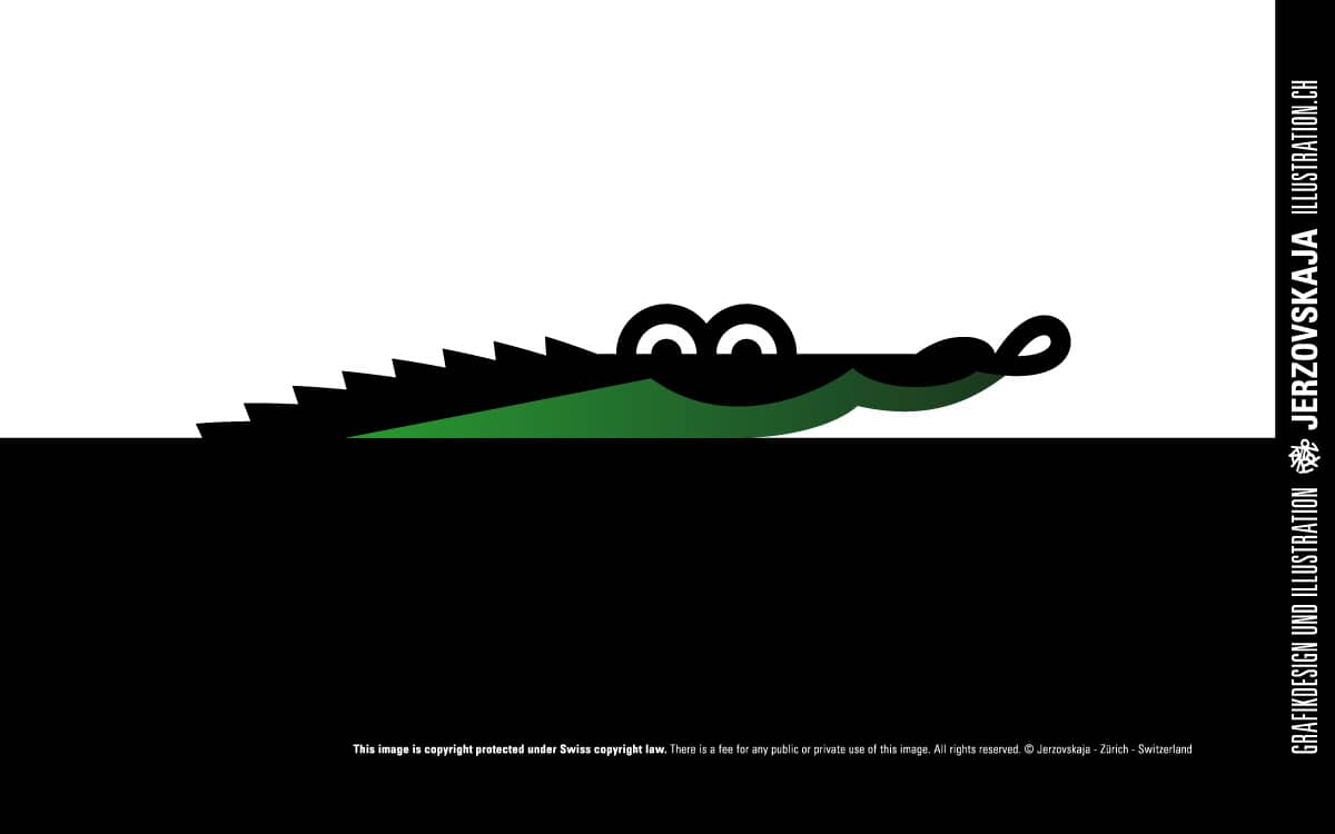 Jerzovskaja - Alligator Logo  (Vector illustration drawn with Adobe Illustrator)
